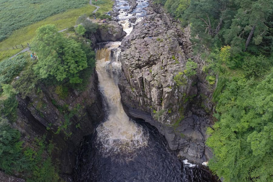 Drone image of High Force Waterfall