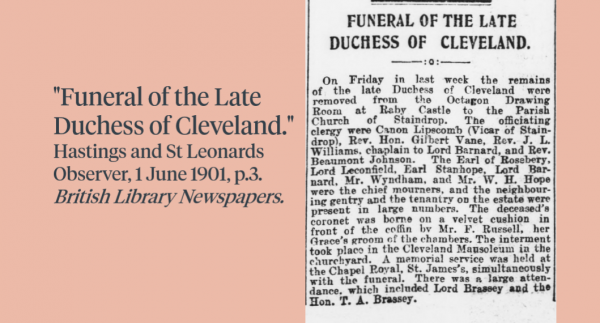 Newspaper clipping about the Funeral of the late Duchess of Cleveland